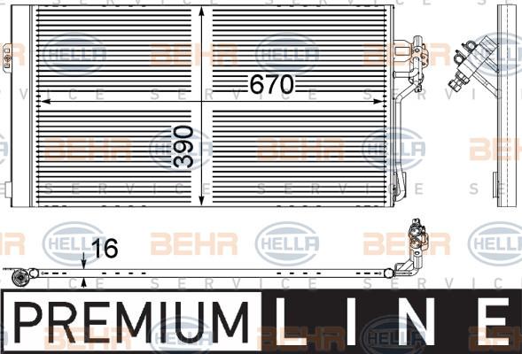 Радиатор кондиционера Mercedes Vito 639 Viano (без осушителя) 670*392мм по сотах KEMP
