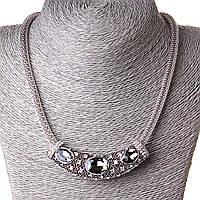 Ожерелье жгут с подвеской крупные камни стразы серый Silver