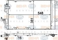 Радиатор кондиционера Opel Astra H (1.6-1.8) Opel Zafira (1.8-2.0) с осушителем (587*380мм по сотах)