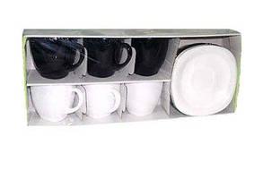 Чайный набор чашек с квадратными блюдцами Luminarc CARINE White&Black 6х220 мл (D2371), фото 2