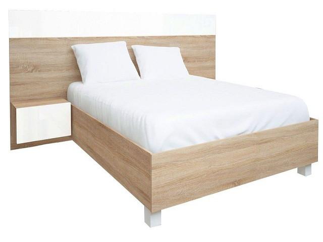 Ліжко з ДСП/МДФ в спальню Соната 1,6х2,0 підйомне з тумбами та каркасом білий Миро-Марк
