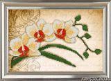 Ткань с рисунком для вышивки бисером Орхидея. Винтаж 1 (триптих)