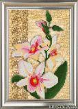 Ткань с рисунком для вышивки бисером Орхидея. Винтаж 3 (триптих)