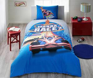 Детское подростковое постельное белье TAC Hot Wheels Race Ранфорс