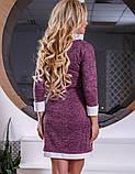 Трикотажное розовое офисное платье Д-526, фото 2