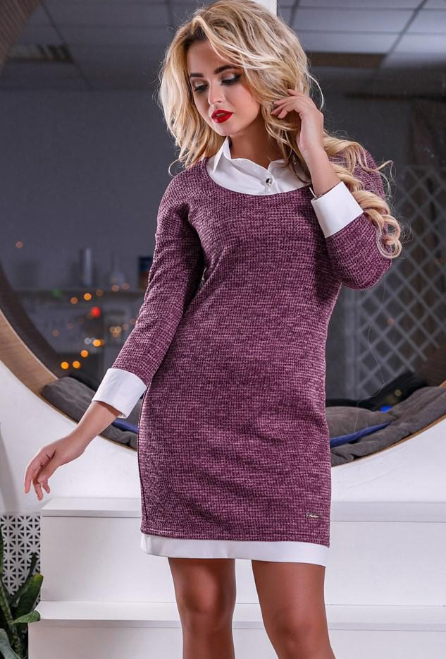 Трикотажное розовое офисное платье Д-526