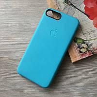 Голубой оригинальный чехол Apple iphone 7+/8+ под кожу