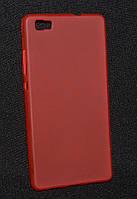 Чехол силиконовый Huawei P8 Lite красный(Хуавей P8 Лайт, чехол-накладка, бампер, защита для телефонов, кейс )