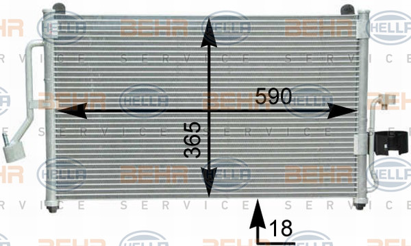 Радиатор кондиционера Daewoo Nubira 600*365мм по сотах (без осушителя) KEMP
