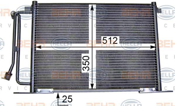 Радиатор кондиционера Ford Fiesta 4 1996-2002 512*350*25мм по сотах (без осушителя) KEMP