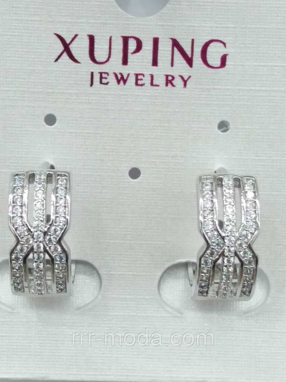 Бижутерия в стразах, бижутерия по оптовым ценам - Серьги под серебро Xuping. b865ee5a12b