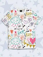 """Футболка детская """"РИСУНКИ"""" с 3Д рисунком из легкой ткани. Праздничная детская футболка."""