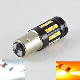 Светодиодная автомобильная лампа SLP LED с цоколем 1157(P21/5W)(BAY15D) 40 3030 led жёлтый/белый