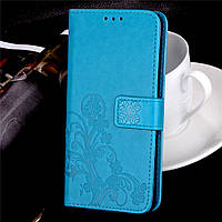 Чехол Книжка для Sony Xperia XA1 / G3112 кожа PU Clover голубой