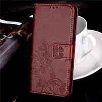 Чехол Книжка для Sony Xperia XA1 / G3112 кожа PU Clover коричневый
