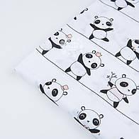 "Отрез ткани ""Панды на линиях"" на белом фоне  №1227а, размер 50*160"