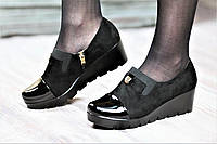 Туфли женские весна на платформе черные искусственная замша лак тракторная подошва (Код: М1058а)