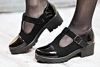 Туфли женские весенние с ремешком на тракторной подошве черные искусственная замша кожа лак (Код: М1060а)