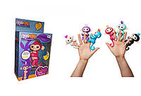 Обезьянка (мавпочка) Fingerlings на палец интерактивная 12 см розовая Белла, 801 т