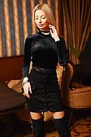 Замшевая юбка на шнуровке, сзади змейка. Чёрная, 5 цветов.