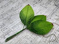 Листики из сатина. 12 штук. Цвет зеленый.