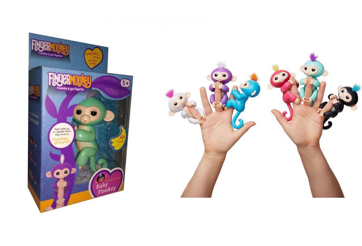Обезьянка (мавпочка) Fingerlings на палец интерактивная 12 см бирюзовая Зоя, 801 т