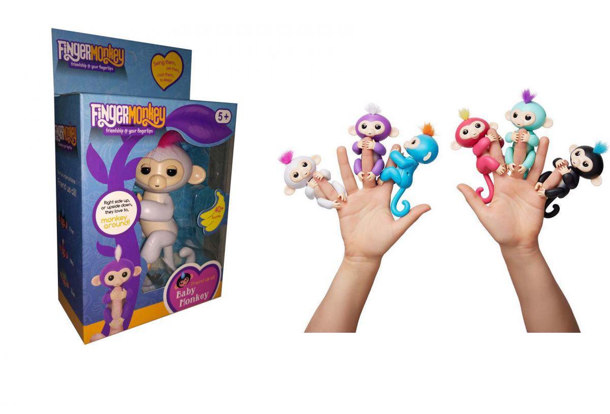 Обезьянка (мавпочка) Fingerlings на палец интерактивная 12 см Белая София, 801 т