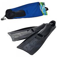 Ласты 55934 размер M(24-26см),ботинок из термопластика,2цвета(синий,черный),в сетке,20-63-15см