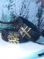 Парные браслеты для двоих из кожи на руку иероглиф ГОД БЫКА и ГОД КАБАНА, ручная работа. Цена указана за пару