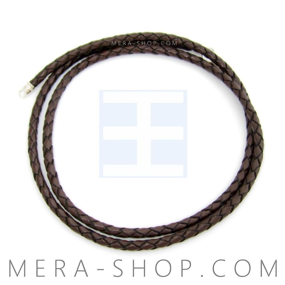 Кожаный плетёный шнурок с серебряным замком (⌀3 мм, коричневый, любая длина, серебро 925 пробы)