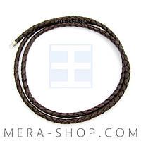 Плетёный шнурок кожа с серебром (3,0 мм) коричневый