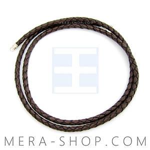 Кожаный плетёный шнурок тёмно-коричневый (⌀3,0 мм) замок из серебра
