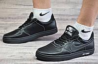 Кроссовки найк мужские черные, Nike Air Force реплика, натуральная кожа (Код: М1079а)