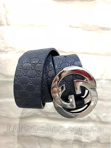 Кожаный женский пояс ремень синий Gucci, фото 2