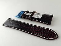 Ремешок Hightone, кожаный, анти-аллергенный, черный с бардовым, фото 1