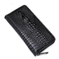 Стильный кожаный клатч портмоне Lacoste (черный кошелек)