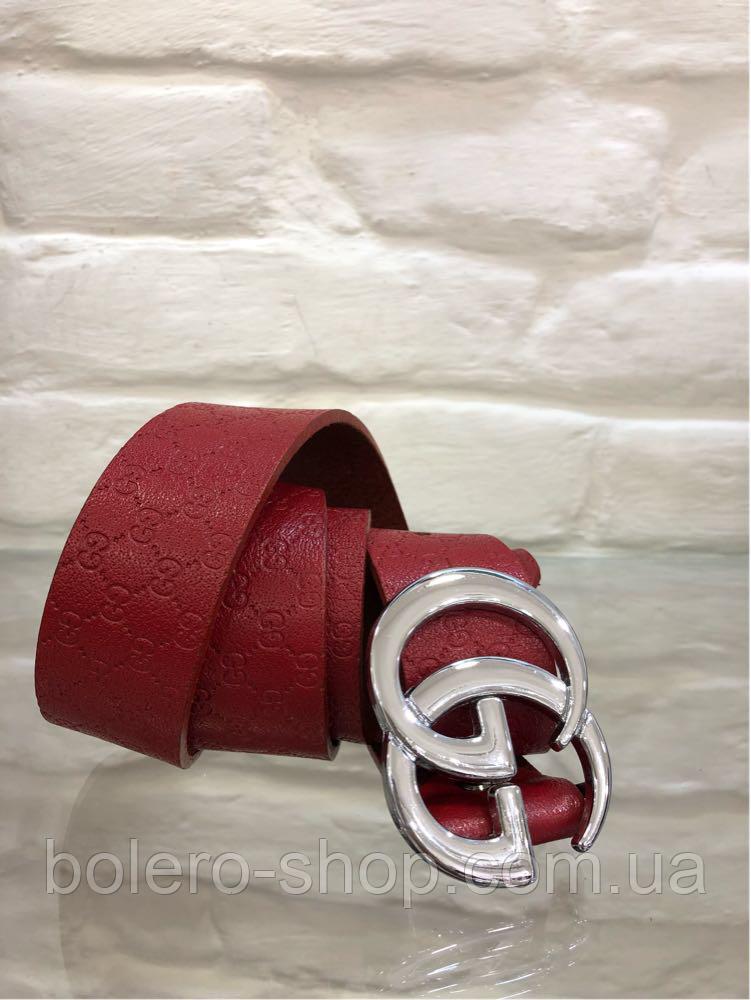 Кожаный женский пояс ремень красный Gucci