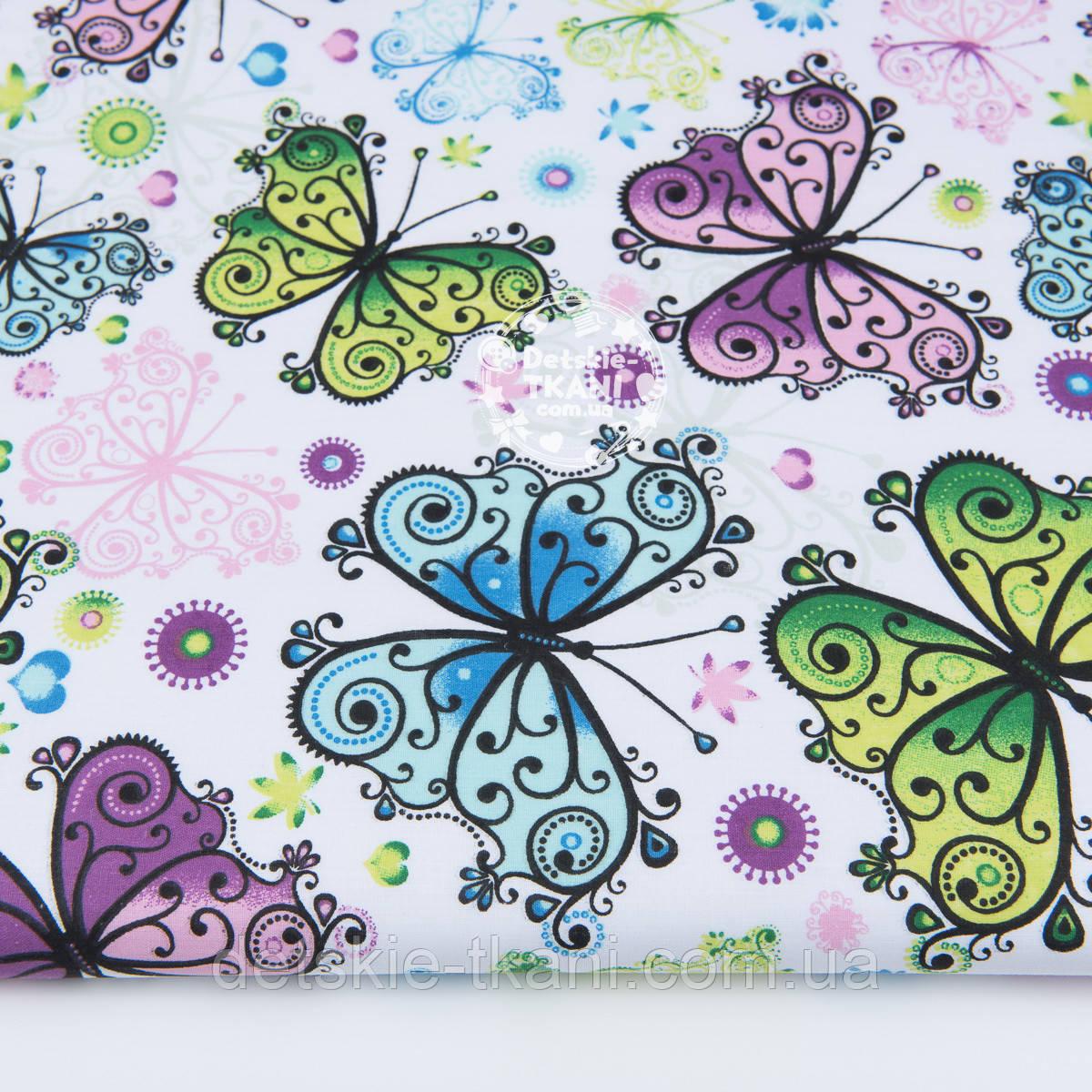 """Ткань хлопковая """"Ажурные бабочки"""" сиреневые, голубые, зелёные,  №1233а"""