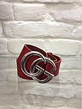 Кожаный женский пояс ремень красный Gucci, фото 2