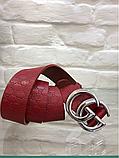 Кожаный женский пояс ремень красный Gucci, фото 3