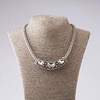 """Ожерелье жгут подвеска с белыми кристаллами цвет металла """"серебро"""" 46-52см"""