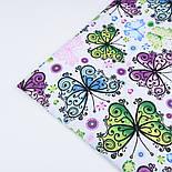 """Ткань хлопковая """"Ажурные бабочки"""" сиреневые, голубые, зелёные,  №1233а, фото 4"""