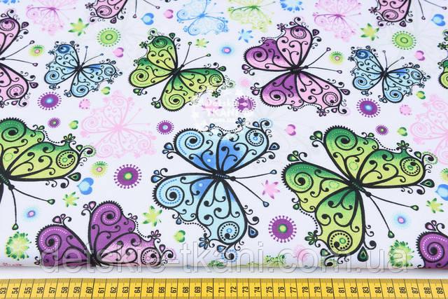 Ткань хлопковая с бабочками