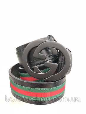 Кожаный женский пояс ремень чёрный Gucci, фото 2