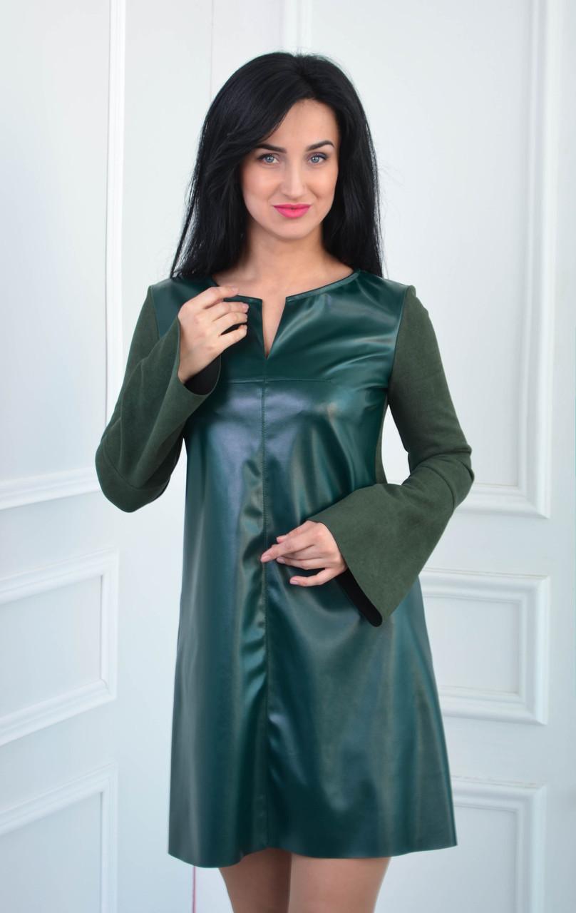 Платье из замша и экокожи цвета бутылка размеры:42-52