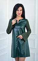 Платье из замша и экокожи цвета бутылка размеры:42-52, фото 1