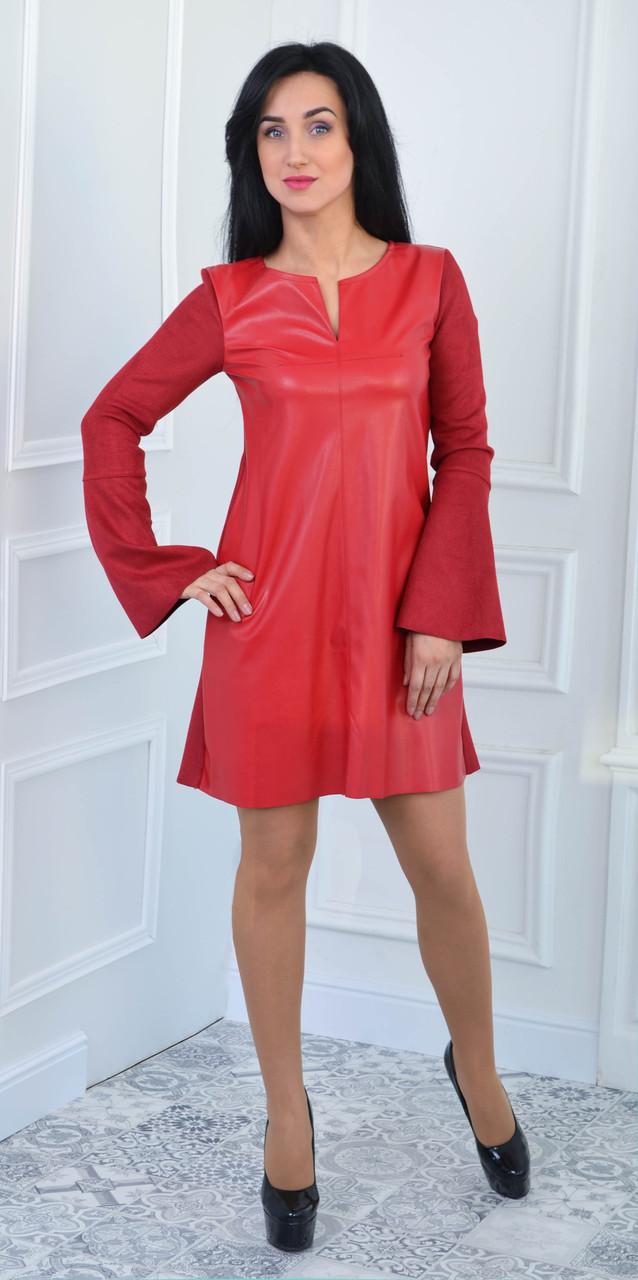 Платье красное из замша и экокожи (размеры:42-52)