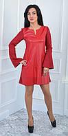 Платье красное из замша и экокожи (размеры:42-52), фото 1
