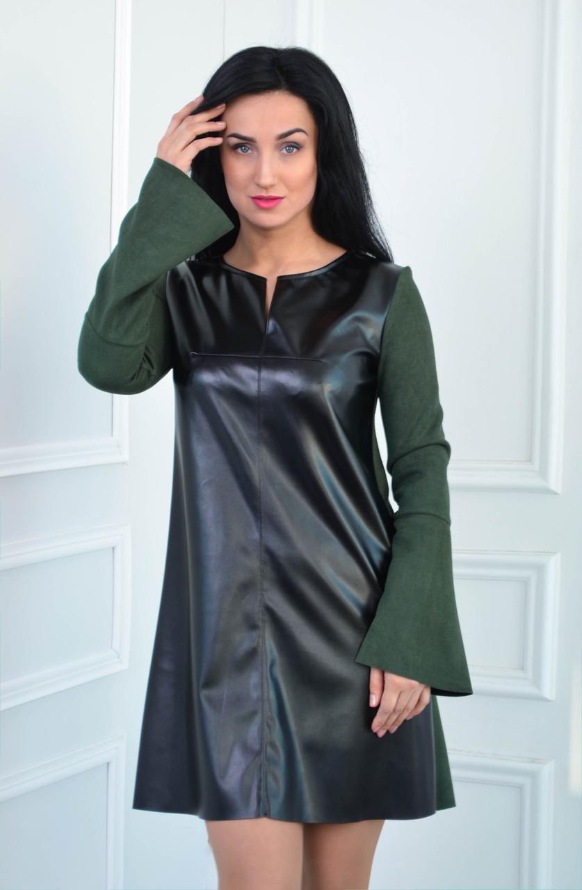 Платье из замша и экокожи цвет черный/бутылка (размеры:42-52)