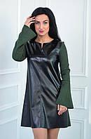 Платье из замша и экокожи цвет черный/бутылка (размеры:42-52), фото 1